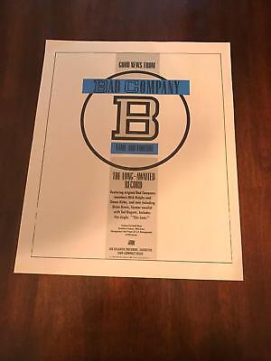 """1986 VINTAGE 10X12.5 ALBUM PROMO PRINT Ad FOR BAD COMPANY """"FAME AND FORTUNE"""""""
