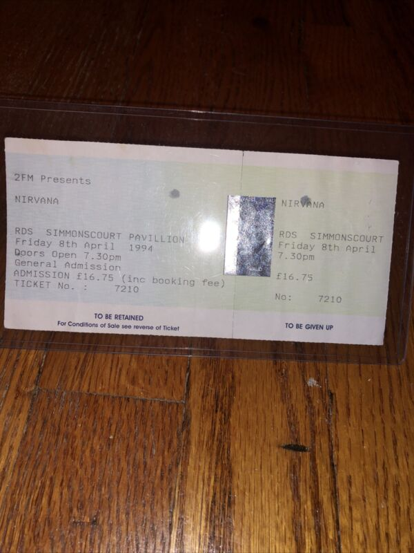 Nirvana Kurt Cobain Rare Ticket Stub April 8 1994 The Day He Died AIC Promo Rare