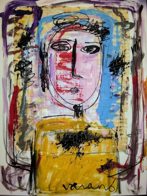 Original Patrice varano abstract cubist outsider portrait collage canva painting
