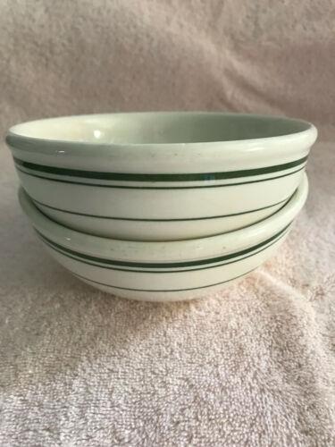 "2 Buffalo China Saratoga Green Stripe 5"" Cereal Bowls Vintage Restaurant Ware"