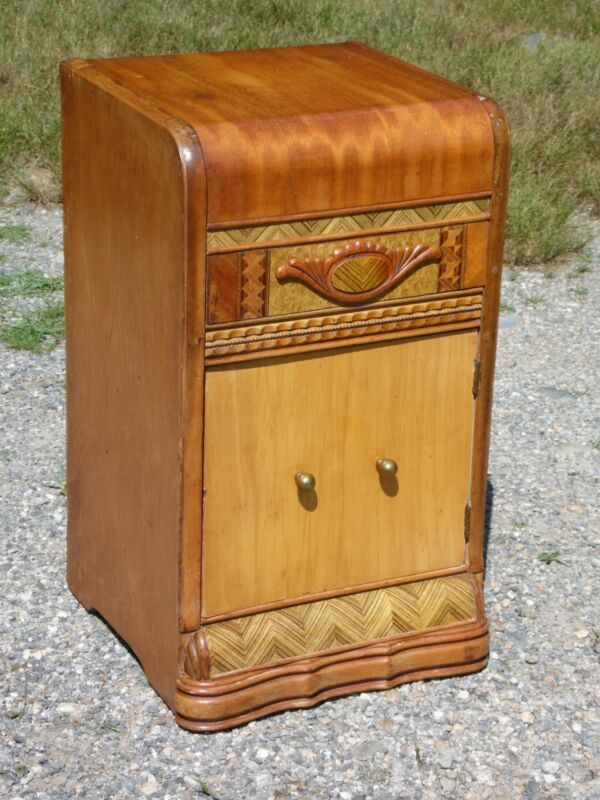 Vintage Art Deco Waterfall Nightstand End Table Stand Walnut Bedroom Cabinet