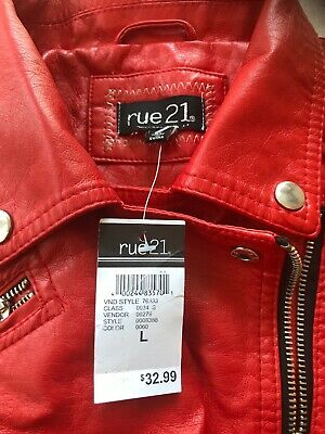 Rue21 Women's Red Faux Leather Jacket L NWT Defects