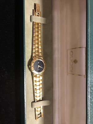 Vintage GUCCI 3300 L Ladies Gold Black Dial Watch with NEW BATTERY...AUTHENTIC