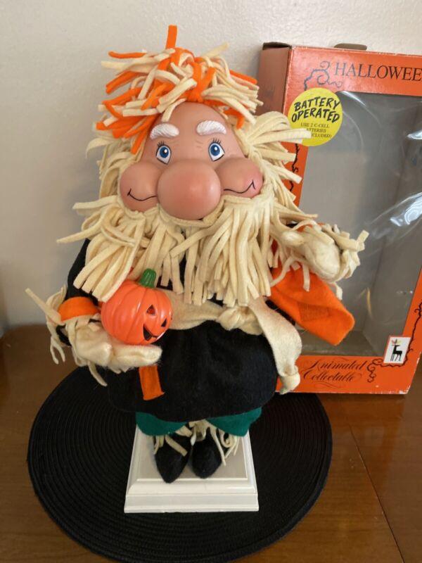 Halloweenkins Animated Figure Scarecrow W/ Pumpkin Santa
