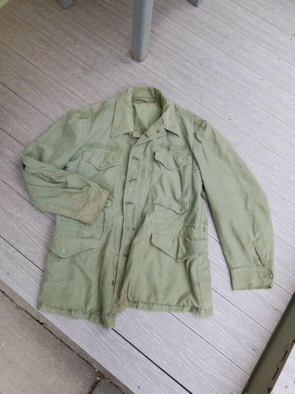 Vintage 1940s Field Jacket  Mens Sz Small Short Hand repairs work wear