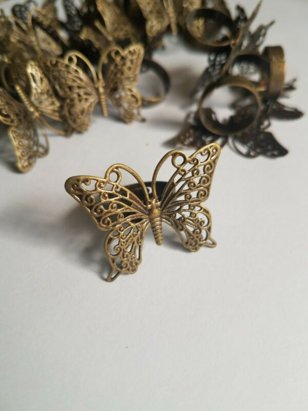 30 Copper Color Butterfly Rings Jewelry Making Crafts