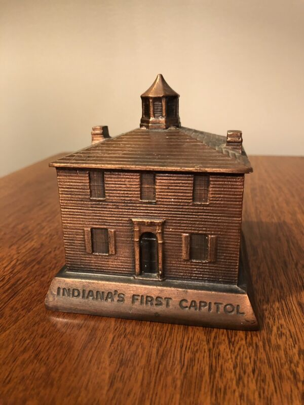 VINTAGE INDIANA'S FIRST CAPITOL OLD CAPITAL BANK TRUST CO. BRASS PIGGY BANK 1974
