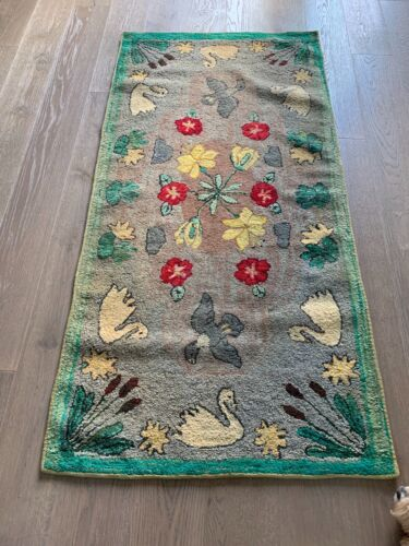 Antique Hand Hooked Rug Swans, Ducks, Flowers, Cattails from 1920
