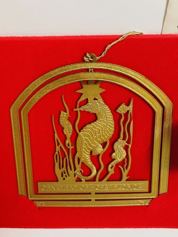 Florida Christmas Ornament of Hope 24K Gold Seahorse 1992 #345 Charleston Mint