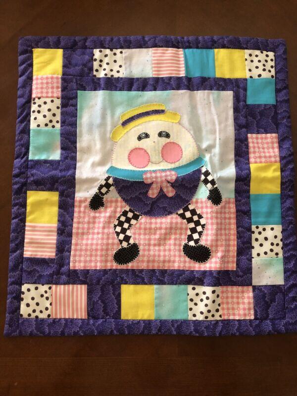 "Vintage Humpty Dumpty Wall Hanging Tapestry Nursery Decor - 16.5"" x 17"""