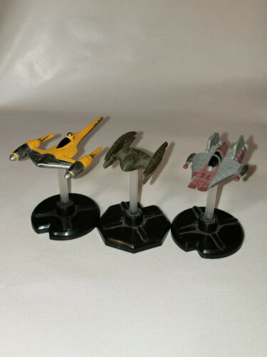 Star Wars Miniatures 14 A-wing Starfighter 21 Naboo Starfighter 59 vulture droid