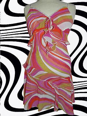 G205 ✪ 60er 70er Jahre Retro Muster Panton Ära Kleid Kostüm Hippie Gr. 40 - - 60er Ära Kostüm