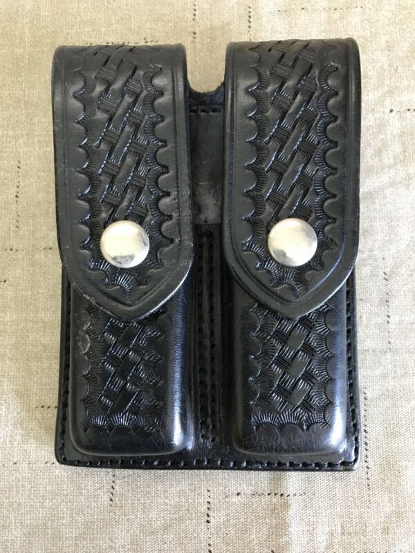 Aker 510-2 Double Magazine Leather Pouch Basket Weave