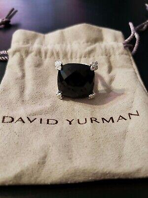 David Yurman Sterling Silver 925 Black Onyx Diamonds Cushion On Point Ring 20 6