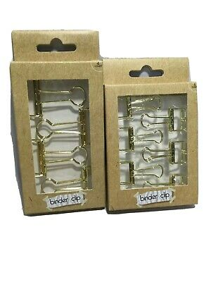 Gold Colored Wire Binder Clips Paper Binder Style Large Small Set Of 10