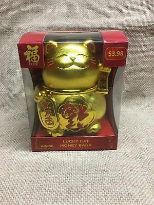Lucky Cat Money Bank Gold Good Luck New In Box