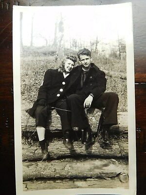 Vintage 50S Cabinet Photo   Young Adults Sitting On Log In Forest   Young Love