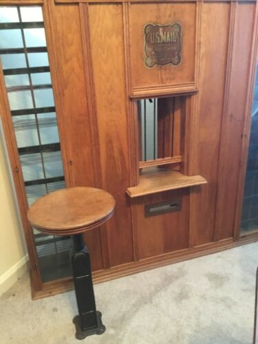 Antique Post Office Mail Cabinet/Postmaster Stool