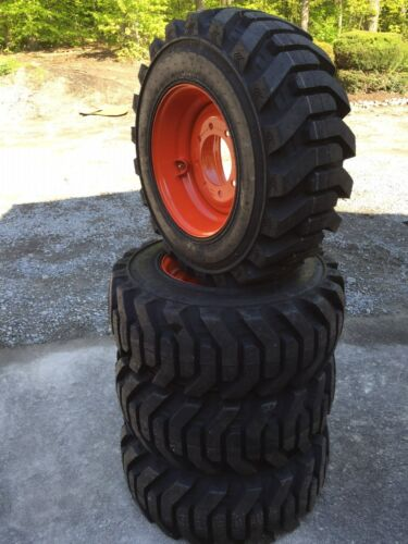 4 New 12-16.5 Foam Filled Galaxy Beefy Baby Iii Tires & Rims For Bobcat-12x16.5
