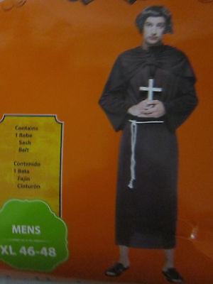 Spiritual Halloween Costumes (Mens XL 46-48 Halloween Costume Priest Monk Robe Sash Belt Religeous)
