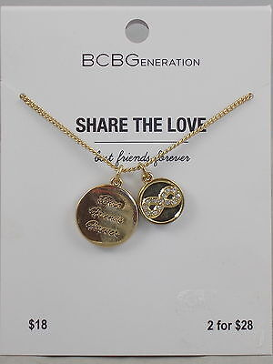 Bcbg Generation Gold Share The Love Bff Inifinity Double Pendant Necklace