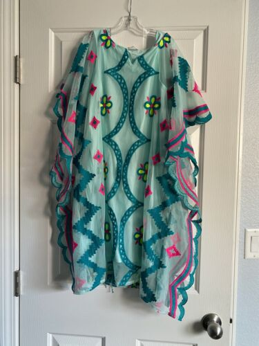 Cat & Jack Size XL Girls Teal Mint Green Pink Lace Embroidered boho dress