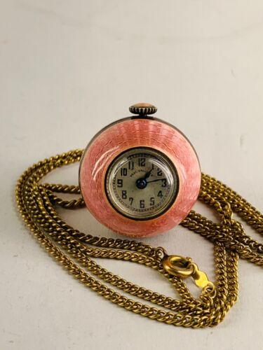 Vintage Guilloche Enamel Swiss Made Miniature Pendent Clock