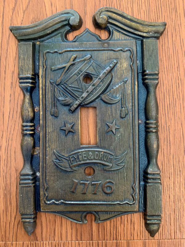 Vintage Fyfe And Drum Brass Light Switch Cover  Plate Metal 1968