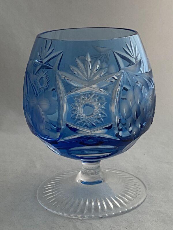 NACHTMANN TRAUBE BOHEMIAN GLASS BRANDY SNIFTER LIGHT BLUE AZURE CUT TO CLEAR