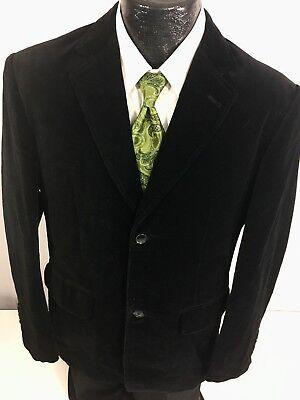 Indian Terrain Men BLACK Sport Coat FORMAL PROM SMOKING Jacket VELVET Blazer