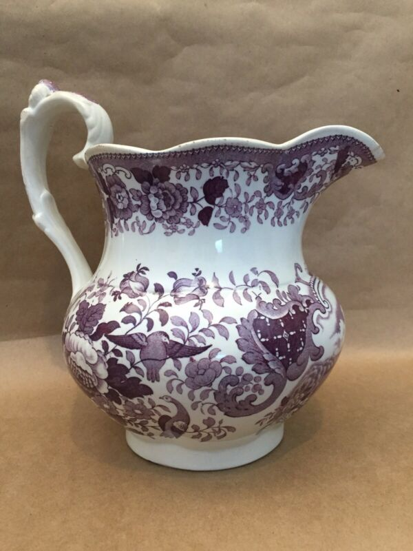 Antique Mulberry/Purple TransferWare Floral with Birds Staffordshire Pitcher