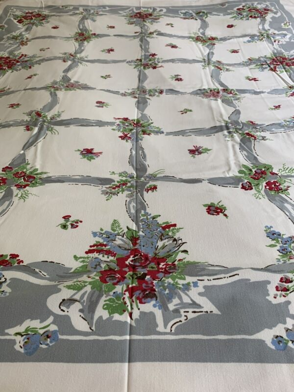 Beautiful Vintage Hand Printed COTTON Floral TABLECLOTH ~ 52 X 60 Nice Color!
