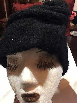 Vintage Black Wool Felt Flapper Hat