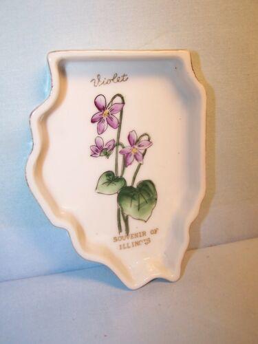 Vintage Porcelain STATE SHAPED Souvenir of ILLINOIS Trinket Dish VIOLET FLOWER