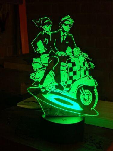 Northern Soul Lambretta Couple Ska 3D Acrylic Engraved LED lamp