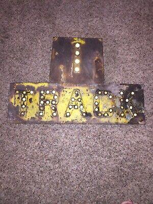 RARE 1 Track YELLOW Antique Porcelain Railroad Sign - GREEN Cat Eye Reflectors