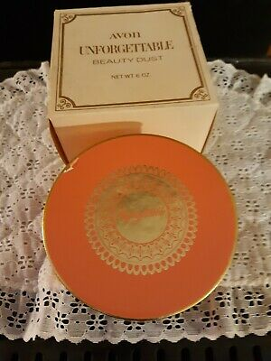 Avon UNFORGETTABLE Beauty Dust Container w/Body Powder 6 oz. USA Vintage NOS/BOX Usa Body Powder