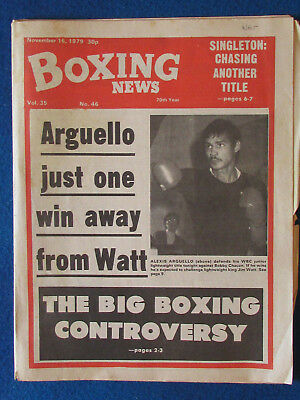 Boxing News Magazine   16 11 79   Alexis Arguello Cover