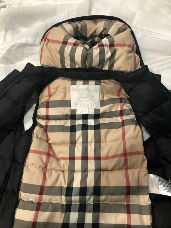 Burberry Children's Puffy Vest With Detachable Hood Size # 5 Yr