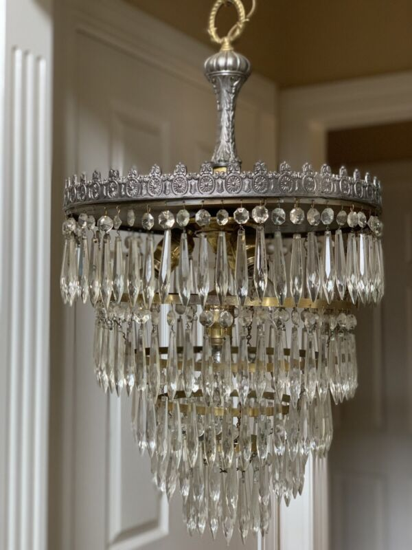 Antique Vintage Deco Crystal Brass Wedding Cake Chandelier Semi Flush 15""
