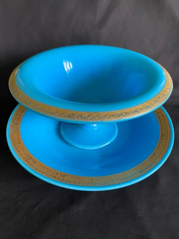 "~Cambridge Glass Azurite 9 3/4"" Ftd Bowl & 11 3/4"" Underplate with Gold Trim~"