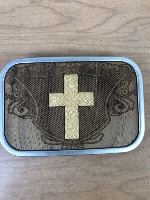 Wood and Metal Cross Belt Buckle