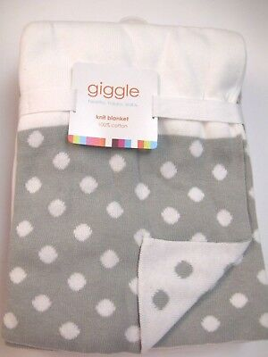 Cotton Knitted Baby Blanket - Giggle Sweater Knit Baby Blanket gray and white 30