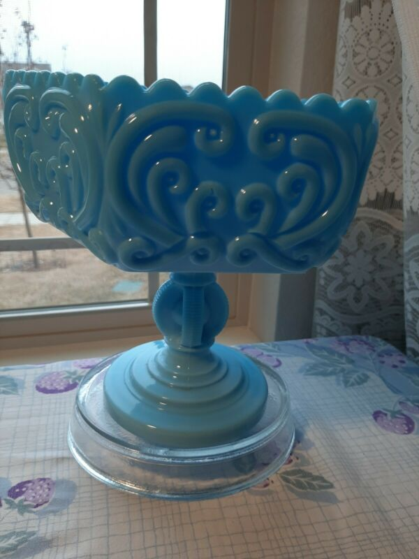 RARE! Vintage old Imperial Blue Milk Large Compote!AbsolutelyGORGEOUS!VERY RARE!