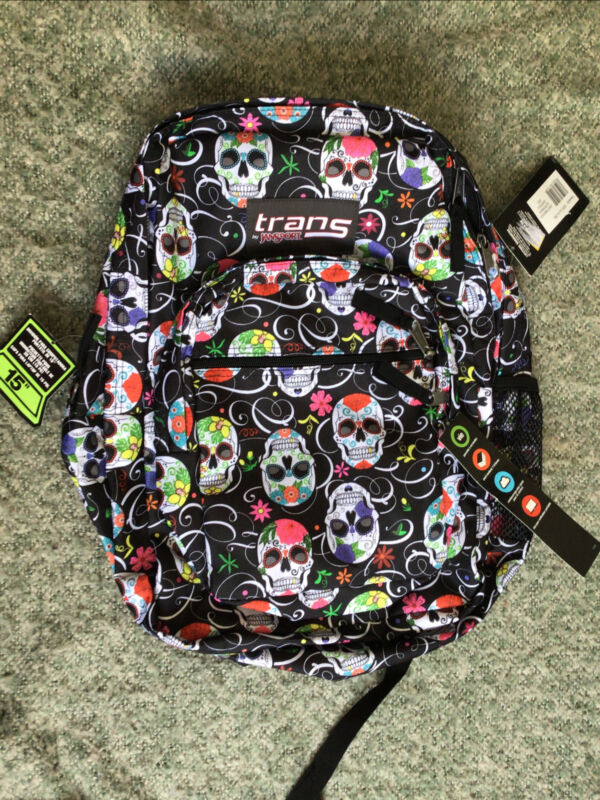 JanSport Backpack Laptop Bag Sugar Skulls Day of the Dead Dios de Los Muertos 💀