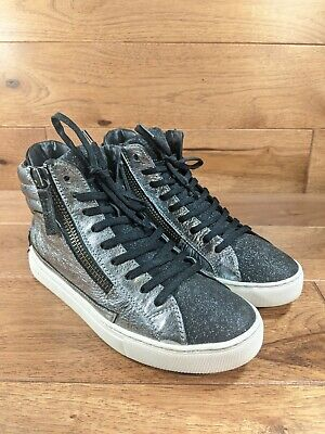CRIME LONDON Womens Silver Black Distressed High Top Fashion Sneaker SIZE 38