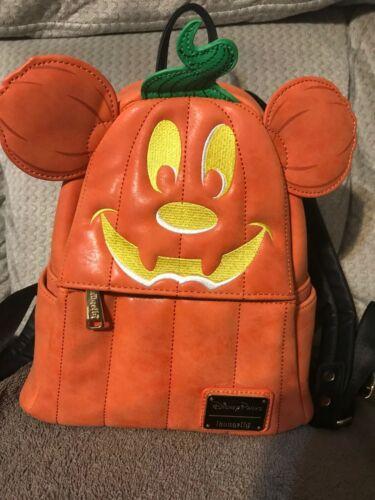 Loungefly 2019 Disney Mickey Pumpkin Mini Backpack bag - Retired - Authentic EUC