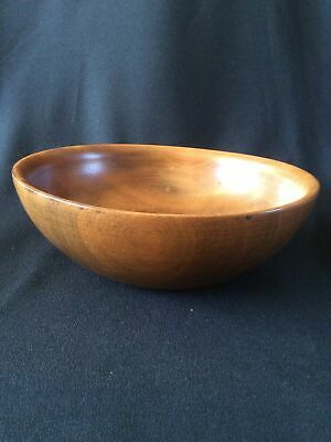 Vintage Wooden Hand Turned Fruit Bowl ~ 25cm Diameter