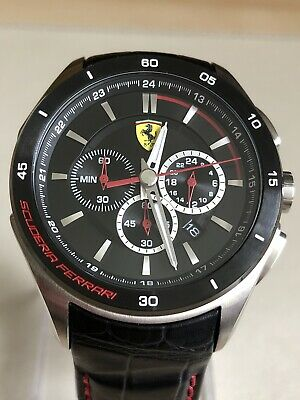 Scuderia Ferrari 0830182 Mens Gran Premio Black Leather Strap Watch.