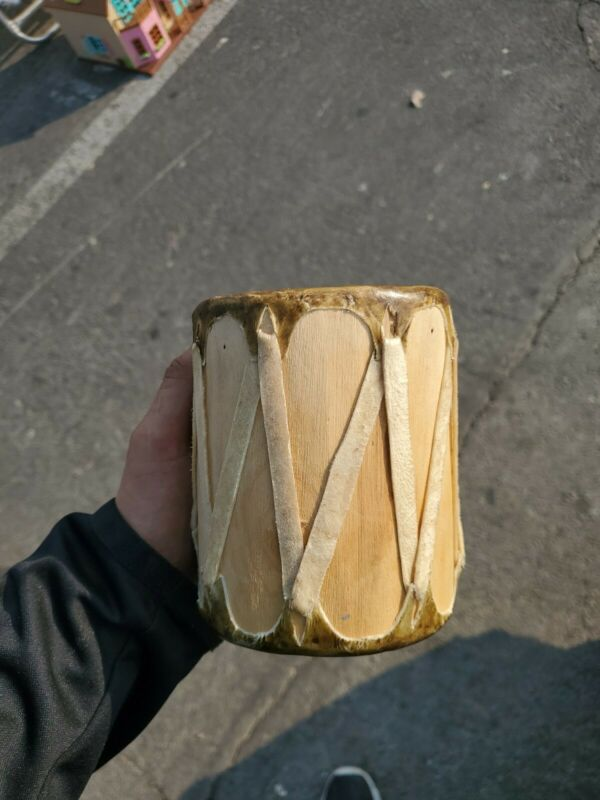 Handmade Hand Drum - Wood And Natural Hide - Small Native American
